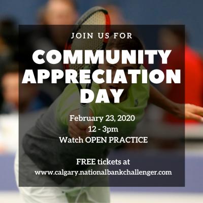 Alberta Tennis Centre presents Community Appreciation Day at the 2020 CNBC
