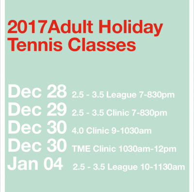 Adult Holiday Class Schedule Announced!